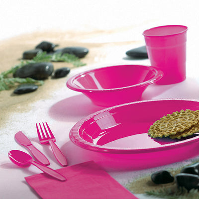 Hot Magenta Pink Plastic Banquet Plates, 20 ct Party Supplies
