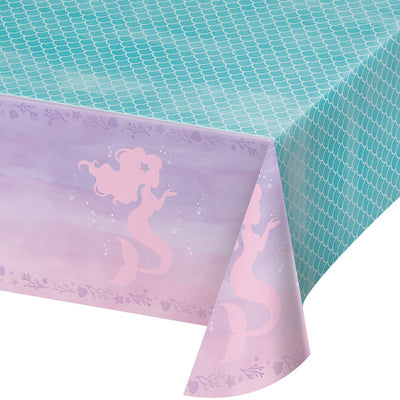 "Mermaid Shine Plastic Tablecover All Over Print, 54"" X 102"" by Creative Converting"