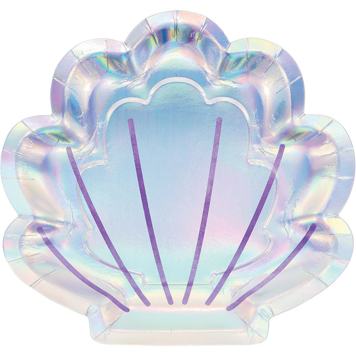 "Mermaid Shine Shaped Plate 9"", Iridescent, 8 ct by Creative Converting"