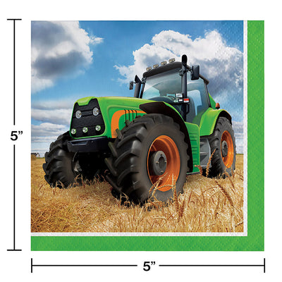 Tractor Time Beverage Napkins, 16 ct Party Decoration