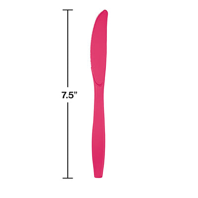 Hot Magenta Pink Plastic Knives, 24 ct Party Decoration