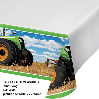 "Tractor Time Plastic Tablecover Border, 54"" X 102"" Party Decoration"