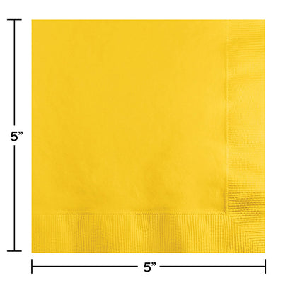 School Bus Yellow Beverage Napkin 2Ply, 50 ct Party Decoration