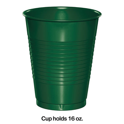 Hunter Green Plastic Cups, 20 ct Party Decoration