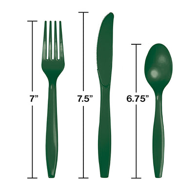 Hunter Green Assorted Plastic Cutlery, 24 ct Party Decoration