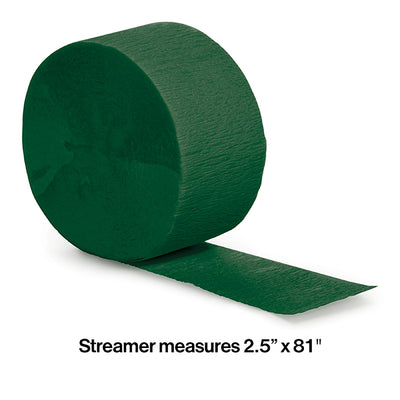 Hunter Green Crepe Streamers 81' Party Decoration