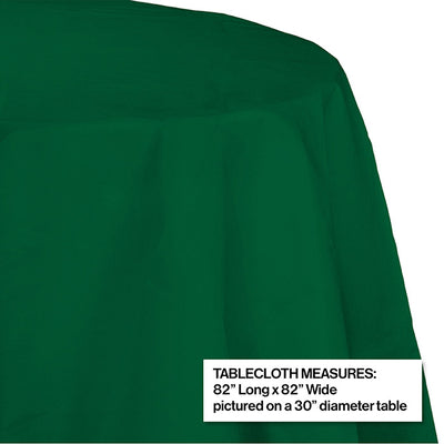 "Hunter Green Tablecover, Octy Round 82"" Polylined Tissue Party Decoration"