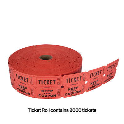 Red/Blue/Orange/Green 50/50 Ticket Roll Party Decoration
