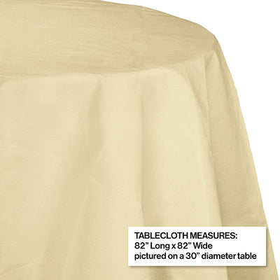 "Ivory Tablecover, Octy Round 82"" Polylined Tissue Party Decoration"