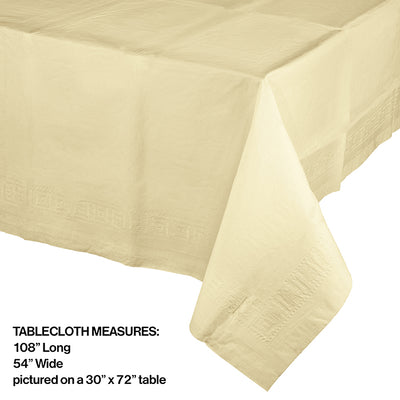 "Ivory Tablecover 54""X 108"" Polylined Tissue Party Decoration"