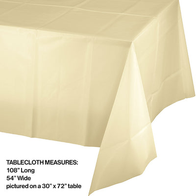 "Ivory Tablecover Plastic 54"" X 108"" Party Decoration"