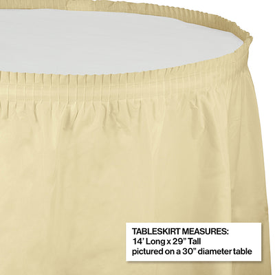 "Ivory Plastic Tableskirt, 14' X 29"" Party Decoration"
