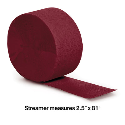 Burgundy Crepe Streamers 81' Party Decoration