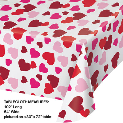 "Valentine Plastic Tablecover, 54"" X 102"" All Over Print Party Decoration"