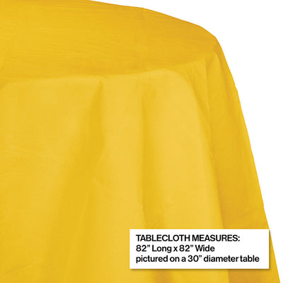 "School Bus Yellow Tablecover, Octy Round 82"" Polylined Tissue Party Decoration"