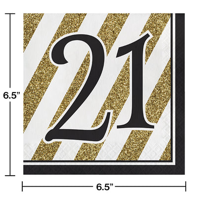 Black And Gold 21st Birthday Napkins, 16 ct Party Decoration