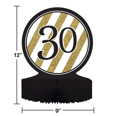 Black And Gold 30th Birthday Centerpiece Party Decoration