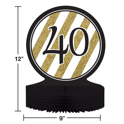 Black And Gold 40th Birthday Centerpiece Party Decoration
