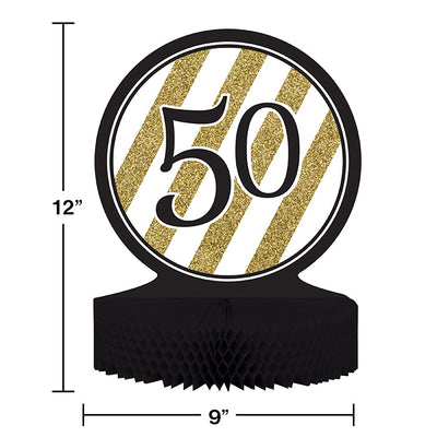 Black And Gold 50th Birthday Centerpiece Party Decoration
