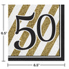 Black And Gold 50th Birthday Napkins, 16 ct Party Decoration