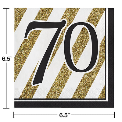 Black And Gold 70th Birthday Napkins, 16 ct Party Decoration