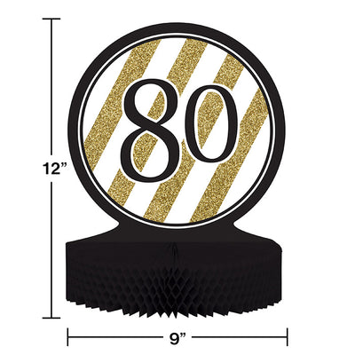 Black And Gold 80th Birthday Centerpiece Party Decoration