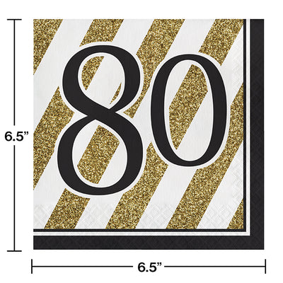 Black And Gold 80th Birthday Napkins, 16 ct Party Decoration