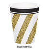 Black & Gold Hot/Cold Paper Cups 9 Oz., 8 ct Party Decoration