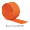 Sunkissed Orange Crepe Streamers 81' Party Decoration