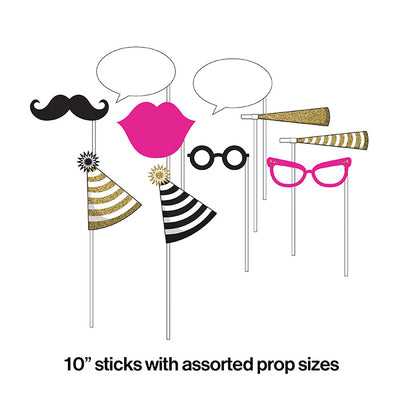 Black And Gold Photo Booth Props, 10 ct Party Decoration