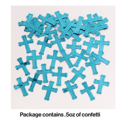 Embossed Blue Cross Confetti, 0.5 oz Party Decoration