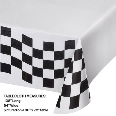 "Black And White Check Paper Tablecloth, 54"" X 102"" Party Decoration"