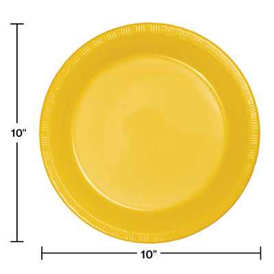 School Bus Yellow Plastic Banquet Plates, 20 ct Party Decoration
