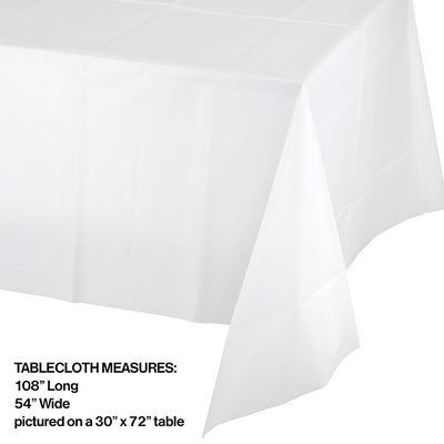 "White Plastic Tablecover 54"" X 108"" Party Decoration"