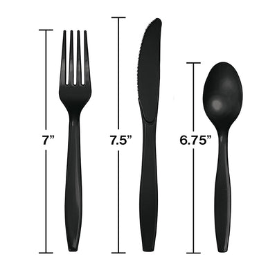 Black Assorted Cutlery Set, 18 ct Party Decoration