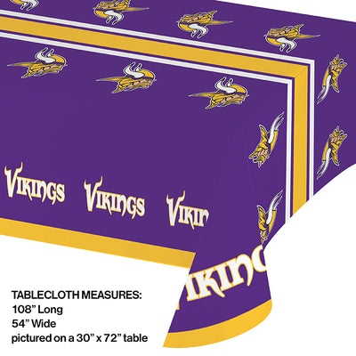 "Minnesota Vikings Plastic Tablecloth, 54"" X 108"" Party Decoration"
