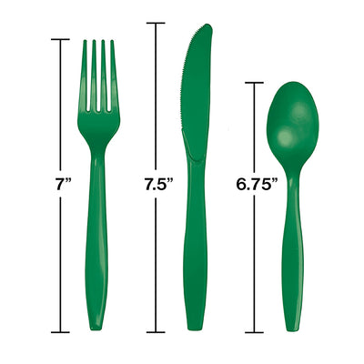Emerald Green Assorted Cutlery, 18 ct Party Decoration