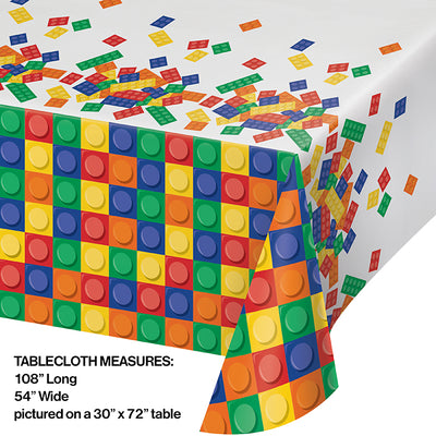 "Block Party All Over Prt Plastic Tablecover 54"" X 102"" Party Decoration"