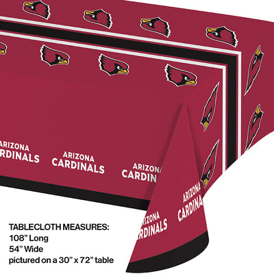 "Arizona Cardinals Plastic Tablecloth, 54"" X 108"" Party Decoration"