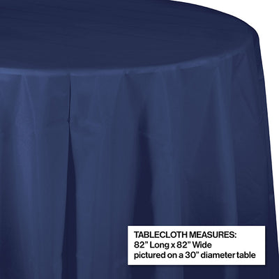 "Navy Tablecover, Octy Round 82"" Plastic Party Decoration"