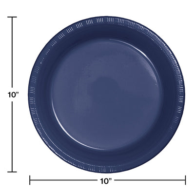 Navy Blue Plastic Banquet Plates, 20 ct Party Decoration