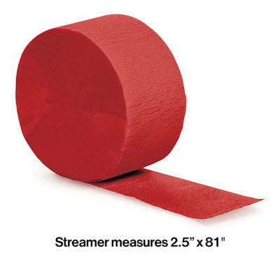 Classic Red Crepe Streamers 81' Party Decoration