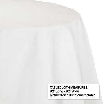 "White Tablecover, Octy Round 82"" Polylined Tissue Party Decoration"