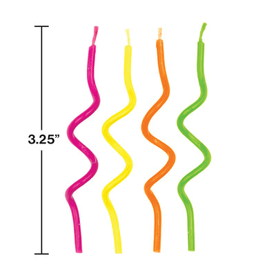 Neon Curly Candles, 12 ct Party Decoration