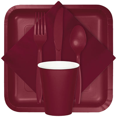 Burgundy Red Assorted Plastic Cutlery, 24 ct Party Supplies