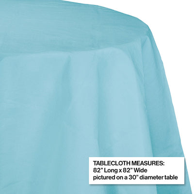 "Pastel Blue Tablecover, Octy Round 82"" Polylined Tissue Party Decoration"