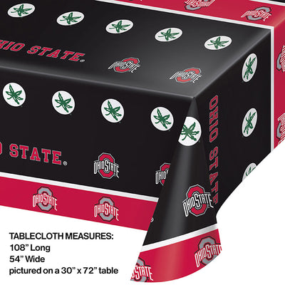 "Ohio State University Plastic Tablecloth, 54"" X 108"" Party Decoration"