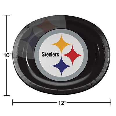 "Pittsburgh Steelers Oval Platter 10"" X 12"", 8 ct Party Decoration"