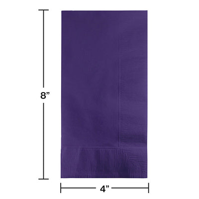 Purple Dinner Napkins 2Ply 1/8Fld, 100 ct Party Decoration