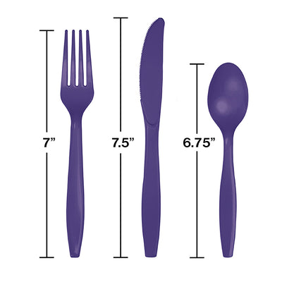 Purple Assorted Plastic Cutlery, 24 ct Party Decoration